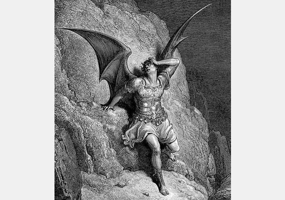 Az ördögábrázolás egyik jellegzetes formája az ember alakú, ám hatalmas, denevérszárnyakra emlékeztető szárnyakkal ábrázolt ördög.Kép: Gustave Doré: John Milton Elveszett Paradicsomához (1866)