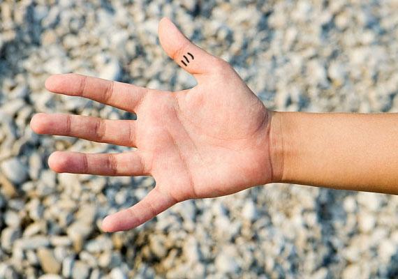 Ugyanúgy, mint a középső ujjpercén található, határozott, függőleges vonalak.