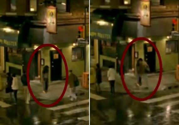 Térfigyelő kamera rögzítette azt az esetet, amikor egy félelmetes szellemalakon gyalogol át egy gyanútlan járókelő az utcán. Sajnos nincs róla bővebb információ, de a képek nagyon ijesztőek.                         Itt meg tudod nézni a videót.