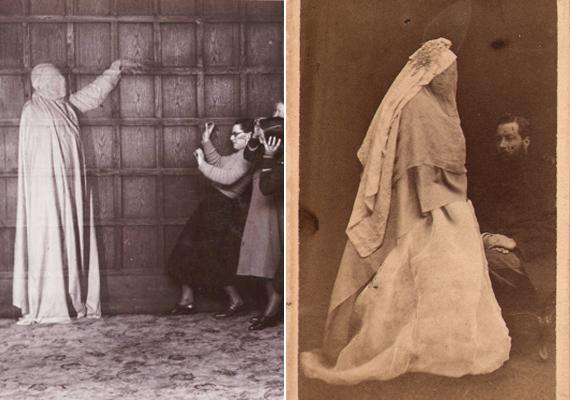 Mindemellett a már említett fehér öltözetes szellemalakok is gyakorta megjelentek képeken. A bal oldali kép a médiumi képességeket és a szellemek létezését lehetett hivatott bizonyítani, a jobb oldali viszont már az ebből kifejlődő, a fényképésztrükkökből hasznot húzó, gyászoló családokat megtévesztő iparág egyik terméke.