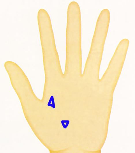 Háromszögek Általában csak a fővonalakon - fej-, szív-, illetve életvonalon - találhatók meg. Ha fölfelé mutatnak, a szellemi és lelki élet területén bekövetkező nagyobb teljesítményre utalnak. Ha a háromszög csúcsával lefelé mutat, keresést, elmélyülést jelez.  Kapcsolódó cikk: A 6 legfontosabb jel a tenyereden, amiből látod a jövőt »