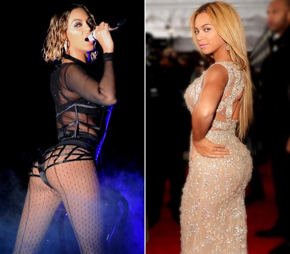 A 32 éves Beyoncé védjegyévé vált a kerek - ám méretes - hátsó. Bár a forma nem változott, mégis szemmel látható a különbség az énekesnő korábbi fotójához képest.
