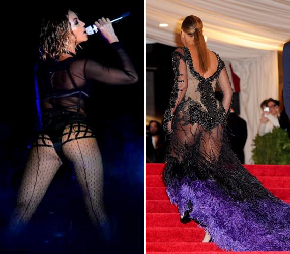 A popsimutogatás nem új keletű hóbort az énekesnőnél, a 2012-es MET-gálán a jobb oldali szerelésben volt látható.