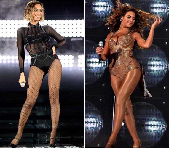 Beyoncé a korábbi fotón jóval teltebb volt, amire a csillogó harisnya és a flitteres fellépőruha még jobban ráerősített.