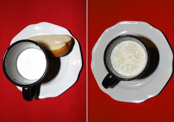 Egy fél körte és 1 deciliter 2,8%-os tej épphogy 100 kalóriát tesz ki. Egyszerűen turmixold össze őket, ízesítés nélkül is remek édesség.