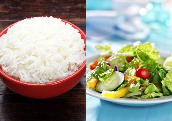Ha nem sikerül rostban gazdagabb barna rizshez jutnod, a fehér rizs felszívódásának sebességét úgy is lassíthatod, hogy választasz mellé egy nagy adag salátát.