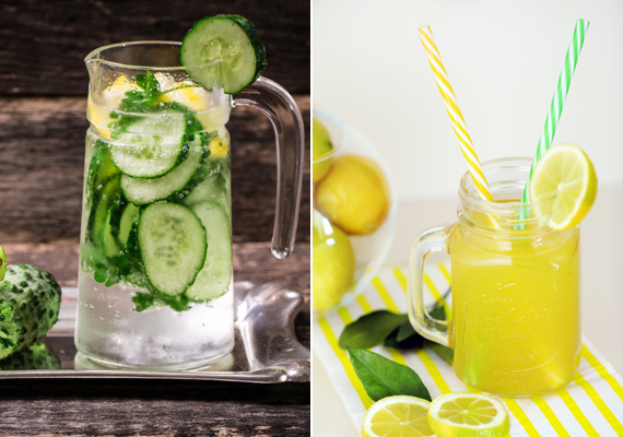 Citromos-uborkás vízEzt a vizet érdemes előző este elkészítened, és betenned a hűtőbe, hogy ízesebb legyen. Egy citrom és egy lime levét csavard ki, keverd össze egy liter hideg vízzel - zárható üvegben vagy egy kancsóban -, majd egy kígyóuborka felét szeleteld fel, és dobd a vízbe. Ha már este beleteszed, akkor reggelre az uborka íze is kellemesen átitatja a vizedet.