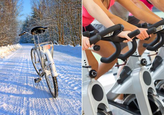 Eddig a bringázást télen csak az igazán elvetemültek vállalták, ám ahogy kezd divatba jönni a sport, egyre többen pattannak nyeregbe a hidegebb hónapokban is. Két keréken vagy szobabiciklin félóránként körülbelül 300 kalóriát éget el a szervezeted, ugyanennyi spinninggel pedig nagyjából 450 kalóriát.
