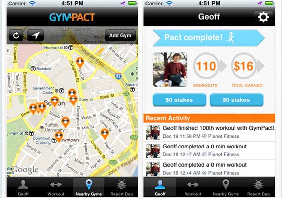 A GymPact nevű alkalmazás lényege, hogy kötsz egy megállapodást a fejlesztést kidolgozó vállalattal arról, hányszor mész le egy héten az edzőterembe, és mekkora pénzbüntetés jár azért, ha kihagysz egy edzést. Bár maga az alkalmazás iOS és Android esetén ingyenes, nem valószínű, hogy a kelet-európai országokban túl nagy sikere lesz.