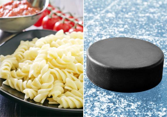 A főtt tészta egyszeri adagja körülbelül egy hokikorong méretének felel meg. Ez körülbelül 70 kalória.