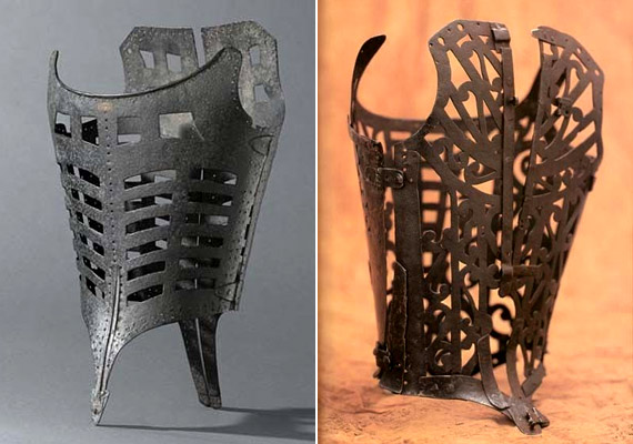 Az első fűzők még fémből készültek, és többnyire oldalt vagy hátul nyíltak. Számos olyan darab létezett, melyhez erényövet is lehetett csatlakoztatni. A bal oldali korzet a 18. századból származik, a jobb oldali pedig 1580-1600-as évek Franciaországából.