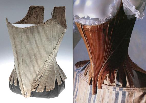 A 18. században már akadtak valamivel kényelmesebb darabok is. A bal oldali fűző a Missouri History Museum kiállítási tárgyai közé tartozik. A jobb oldali érdekessége, hogy oldalt is kiszélesedik, tovább hangsúlyozva ezzel a csípőt.