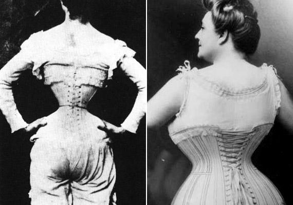 Bordatörés a szépség jegyében! A bal oldali darázs derék a viktoriánus kor szüleménye, a jobb oldali már a 1900-as évek elejét idézi.