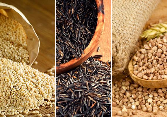 Köles, hajdina, quinoa, barna rizs                         Ezek a gluténmentes gabonafélék nagyon jó alternatívát jelentenek, melyeket mind kombinálhatod az eddig bemutatott zöldséges köretek bármelyikével, ha tartalmasabb ebédre vágysz.