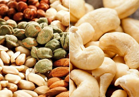 Olajos magvak: esetükben félúton helyezkedik el az igazság. A fogyókúrába napi tíz szem mandula valóban belefér, hiszen számos súlyvesztést segítő hatása van. Szinte ugyanez igaz a többi magra is, viszont 1-2 dekánál többet ne egyél belőlük naponta. Kalóriatartalmuk igen magas, 10 dekánként 5-600 kalória. A sózott, pirított verziókat pedig mindenképpen kerüld, ha fogynál - a só vizet tart vissza, plusz centiket pakolva a hasadra -, és azokat is, amelyek valamilyen bundában vannak. Ezek a borítások fehér lisztből készülnek, az ízesítés során pedig cukrot is használnak.