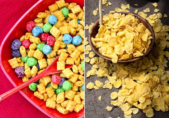 A színes müzlikben általában a élelmiszerszínezék mellett egyéb anyagcsere-lassító adalékanyagot is találsz. Hasonló a helyzet a kukoricapehellyel, amelyben a magas a szénhidrát- és nátriumtartalom mellett a legtöbb esetben bizony ott van a cukor is.