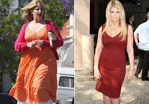 Kevesen hitték, hogy az állandóan jojózó Kirstie Alley-nek sikerül megőriznie a formáját. Pedig a jobb oldali képen látható eredményt több mint egy éve tartja a színésznő.