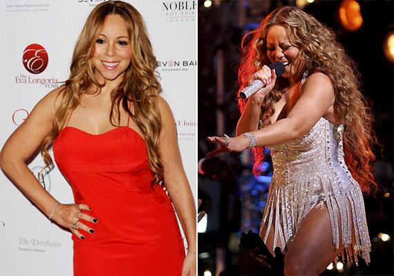 Mariah Carey sosem volt nádszálkarcsú, ám terhessége alatt jócskán meghízott. Ikrei születése óta azonban 30 kilótól szabadult meg az énekesnő - az eredmény a bal oldali képen látható.