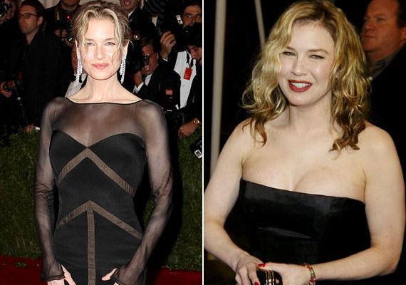 Renée Zellweger a Bridget Jones-filmek kedvéért szedett fel 20 kiló pluszt magára, ám jellemzően úgy fest, mint a 2012-es Met Gálán készült, bal oldali fotón.