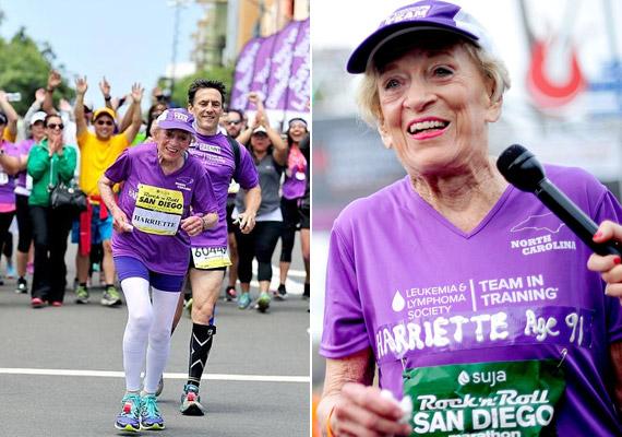 A 92 éves amerikai Harriette Thompson ma a legidősebb nő, aki befejezett egy maratoni futóversenyt. A rákból felépült hölgy 2015-ben 7:24:36 óra alatt ért célba a San Diegóban rendezett Rock 'n' Roll Marathonon. Az egykori zongorista már elmúlt 70 éves, amikor egy jótékonysági felhívás hatására lefutotta első maratonját. Idén - fia kíséretében - 16. alkalommal teljesítette a 42 kilométeres távot, ami nem csupán a korát tekintve hihetetlen eredmény, hanem annak ismeretében is, hogy az év elején vesztette el férjét.