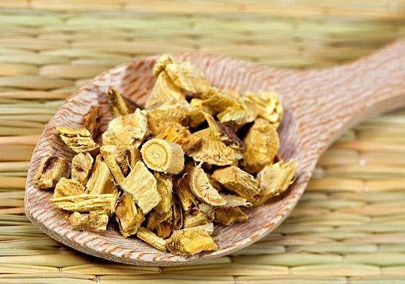 Az édesgyökér - Glycyrrhiza glabra - a hagyományos kínai gyógyászat szerint kapcsolódik a májhoz. A tudományos kutatások eredményei megerősítették, hogy a növény májműködést segítő tulajdonságokkal bír, tehát hasznosan alkalmazható fogyókúrák, illetve méregtelenítő kúrák során. Lúgosító tea alapanyagaként is kiváló.