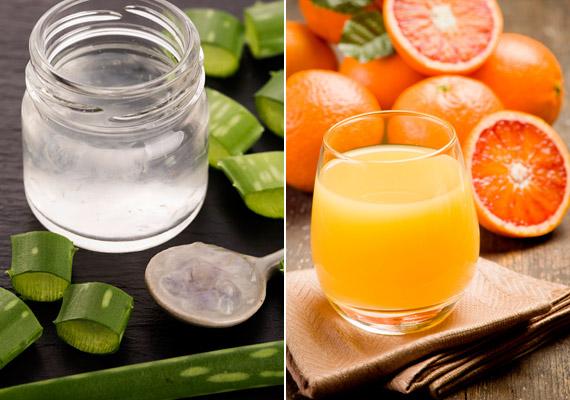 Hámozz meg két grépfrútot és két narancsot, majd vágd őket akkora darabokra, hogy beférjenek a gyümölcscentrifugába. Adj hozzájuk egy chilipaprikát, valamint egy hosszú levél aloe vera belsejét. Kattints és tudd meg, még mire jó az aloe vera!