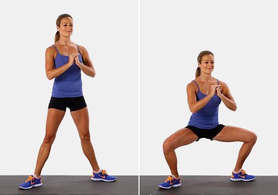 Helyezkedj el széles terpeszben, a lábfejed kifelé nézzen. A kezeket a mellkas előtt zárd össze. Ebből a testhelyzetből végezz tíz guggolást - úgy, hogy a lábszár és a comb a legmélyebb guggolásnál 90 fokos szöget zárjon be. Csinálj három sorozatot. Ezzel a gyakorlattal nemcsak a feneket, hanem a hátsó combizmokat is erősítheted.