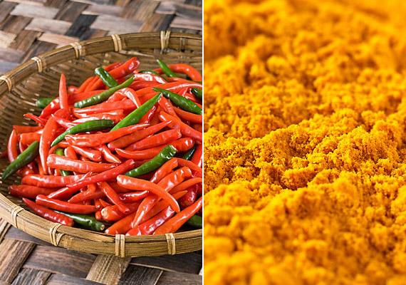 A thai konyha híres csípős fűszereiről. A chili és curry csak kettő az illatos, anyagcsere-serkentő fűszerek közül, amelyek nem ritkán arra is kényszerítik az ember, hogy lassabban, mértéktartóan étkezzen.