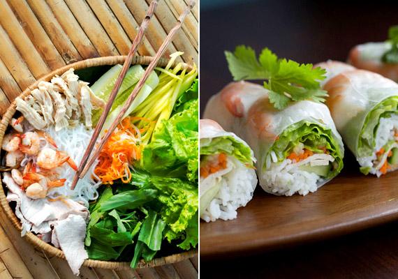 A tavaszi, illetve a nyári tekercs kedvelt vietnami ételek, amelyek alapját sok-sok rostban gazdag saláta, rizs és kígyóuborka adja. Létezik vegetáriánus változatuk is, de sokszor kerül beléjük valamilyen tenger gyümölcse - amely a vietnami konyha egyik fontos alapja - vagy éppen marhahús.