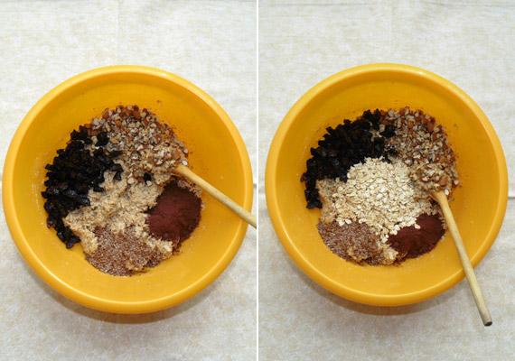 Az aszalt szilvát és a maradék olajos magvat vágd apró darabokra, és add hozzá a tésztához. Add hozzá a fahéjat és a kakaóport, a lenmagot, végül a maradék - meg nem őrölt - zabpelyhet is.
