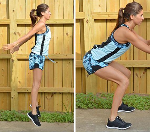 Tabata-felugrás: hajlított terpeszállásból kell felugrani, egy perc alatt majdnem 14 kalória ég el. Ebből 20 másodperc intenzív gyakorlatvégzés, 10 másodpercig pedig kifújod magad, majd újra ismételd. Összesen négy percig végezd. Ez a gyakorlat a mozgást követően is kifejti hatását a testedre: az edzés utáni 30 percben még kétszeres erővel pörgeti az anyagcserét. A tabata nevű edzésről még többet megtudhatsz korábbi cikkünkből.