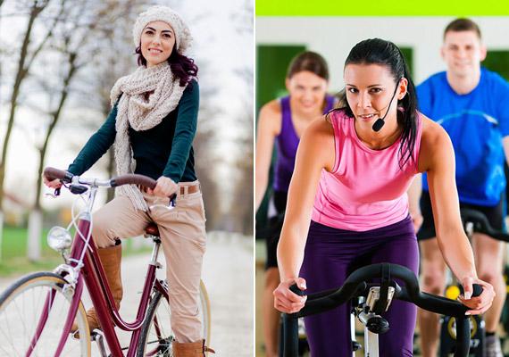A biciklit nem kell eltenned télire, csupán megfelelő öltözet szükséges hozzá. 30 perc közepes tempójú kerekezéssel 260 kalóriát égethetsz. Ha mégis úgy döntesz, hogy inkább az edzőteremben szállsz nyeregbe, úgy fél óra spinninggel - amely jóval intenzívebb a kerékpározásnál - 350 kalóriát éget el a tested.