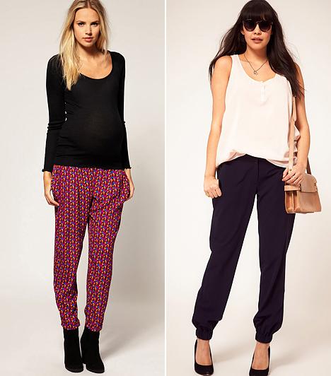 Pizsamaszerű kreációk                         Idén divatba jöttek a pizsamafazonok, melyek nem olyan kirívóan bő szabásúak, mint a háremnadrágok, így kevésbé rövidítik a lábakat. Kényelmesek, lengék és lezserek, ráadásul divatos stílusokban viselhetők. Az enyhén répa szárúak jótékonyan elrejtik a vastag combokat és a nagy feneket, illetve elterelik a figyelmet a csípőről. A színes, kaotikus mintáktól azonban óvakodj, lehetőség szerint inkább az egyszínű vagy a függőlegesen mintázott darabok közül válogass.