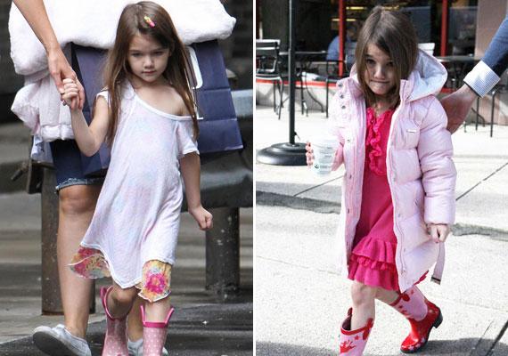 Katie Holmes valószínűleg már sosem fog megtanulni öltözködni, és sajnos kislánya ruháit talán még ügyetlenebbül válogatja össze, mint a sajátjait. Pedig bizonyára a nyilvánosság elkápráztatása volt a cél.