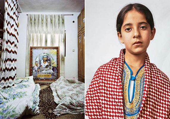 A tízéves Douha Hebronban, egy palesztin menekülttáborban lelt átmeneti otthonra - élettere a képen látható. A kislány bátyja öngyilkos merénylőként saját magán kívül 23 embert robbantott fel Izraelben.