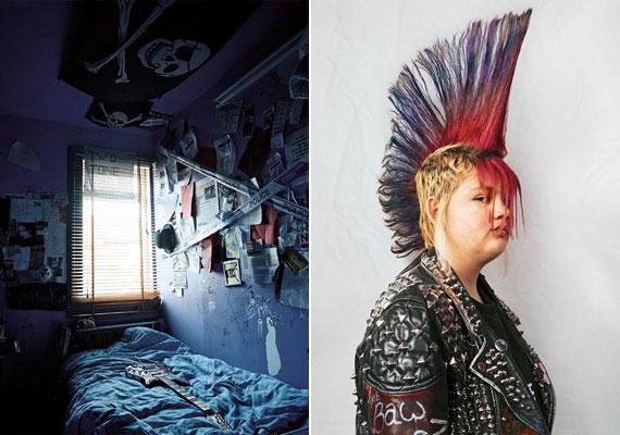 Az ír Rhiannon egy punk családba született, hatéves kora óta ilyen frizurát visel - szobája is sokat elárul a közegről, amelyben él.