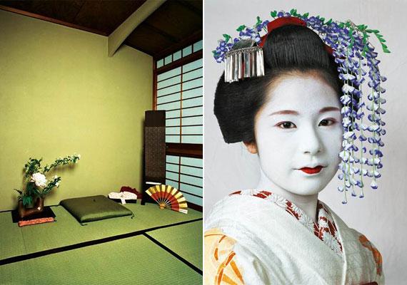 A 15 éves, japán Risának már nincs gyerekszobája - a fiatal lány gésanövendék, öt társával osztozik a képen látható helyiségen, amely nappaliként is funkcionál.