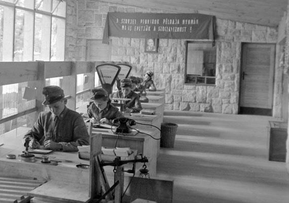 Az úttörők egyik meghatározó meeting pointja a csillebérci tábor volt, amely úttörőpostával is rendelkezett. A háttérben lévő transzparens szerint a gyerkőcök szovjet kollégáik példáját követve a szocializmust kívánják építeni.