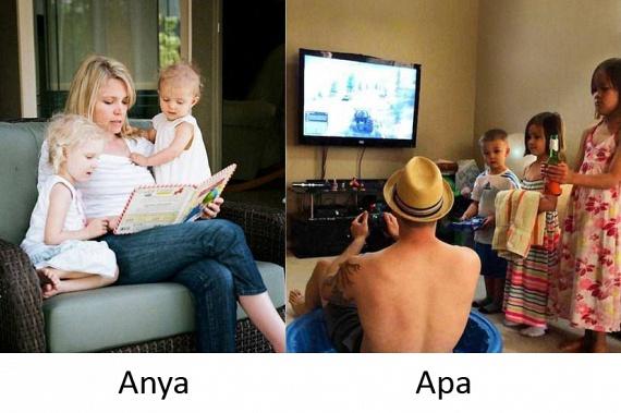 Végül egy sarkított vicc: ha apa van a gyerekekkel, a közös szórakozás is átértelmeződik.