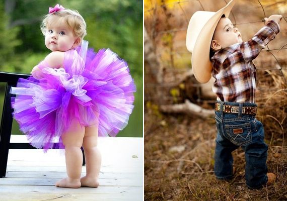 Egy igazi csajos és igazi pasis jelmez: balerina és cowboy.