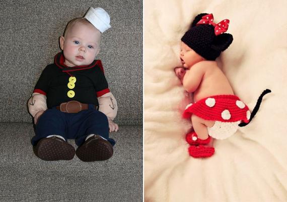 Mesefigurás jelmezbe bújtatott babák: Popeye és Minnie egér.