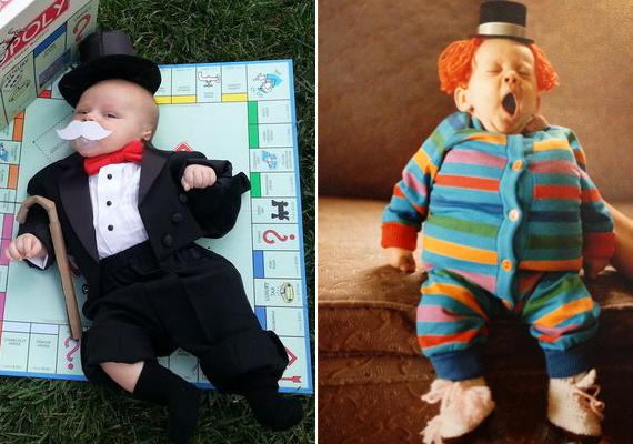 Ha már a játékoknál tartunk, a Monopoly játék figurája és egy bohócjelmez.