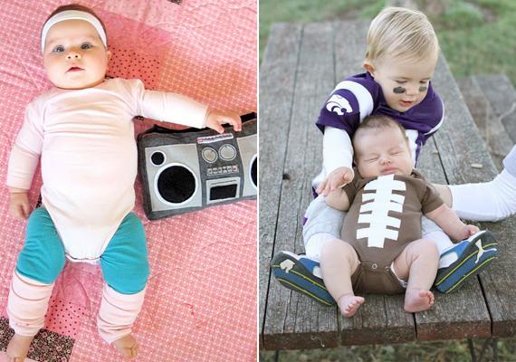 Jelmez sportos babáknak: aerobikos a kislányoknak, amerikaifocis a kisfiúknak.