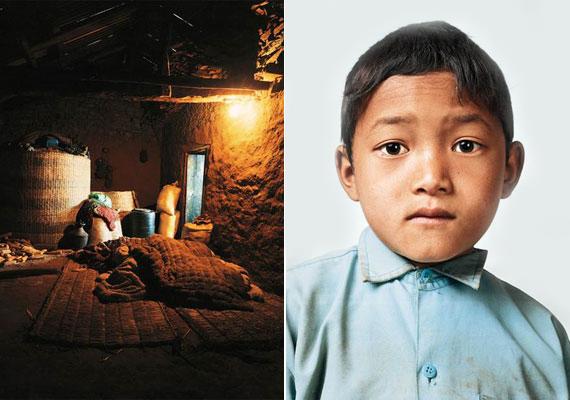 Nepál már hátrébb van a sorban. A 121. helyet kapta meg az alapítvány által készített listán. A képen egy nepáli fiú, Bikram, és a hely, ahol él.