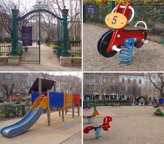 Károlyi-kert, kicsik játszótere                         Jártatok már a Károlyi-kertben? A szép, kapuval ellátott, hatalmas park kész gyerekparadicsom. Két szuper játszótere is van, óriási homokozója, és kényelmesen leülhetnek a felnőtt kísérők is. A kicsik játszóterén színes mászóka, rugós lovacskák és kismotor, na meg hinták is vannak.