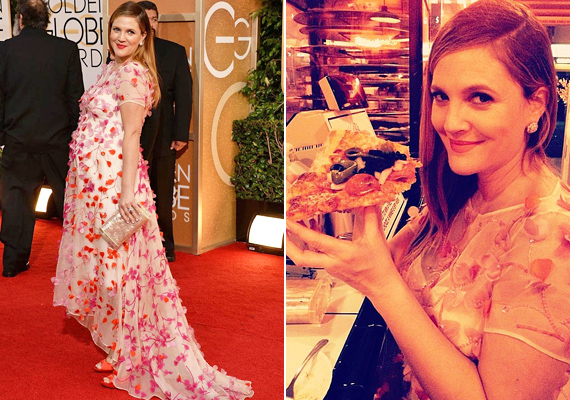 Drew Barrymore büszkén domborította pocakját a Golden Globe-díjátadón virágmintás ruhájában. Aztán a parti után azt is megmutatta, egyáltalán nem bánja, ha néhány plusz kilót felszed a várandósság alatt. A színésznő egyébként májusra várja második gyermekét.