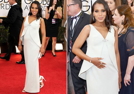 Kerry Washington a Golden Globe vörös szőnyegén jelent meg ebben a fehér ruhában, ami takarja, de hangsúlyozza is gömbölyödő pocakját. A színésznő a klasszikus elegancia híve, nem hazudtolja meg magát a terhessége alatt sem.