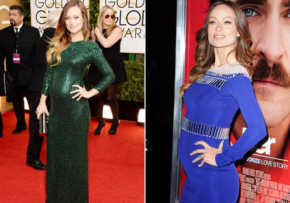 Olivia Wild első gyermekével várandós, és jól láthatóan nagyon büszke erre. Mindig olyan típusú ruhát választ, ami kiemeli a pocakját, a zöld, csillogó, illetve a kék, derékban mintás darab is ilyen.
