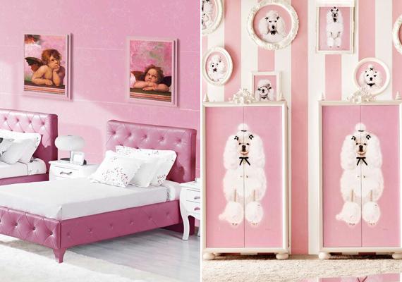 Egy kislányszoba dizánjába abszolút belefér a rózsaszín fal és bútorkárpit, de az angyalkákat és a pudlikat már kissé soknak ítéljük.