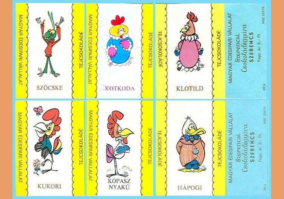 A mesefigurás kis csokik többféle variációban voltak kaphatóak. Például Kukori és Kotkoda vagy a Mézga család tagjai is felkerültek a csomagolásra.